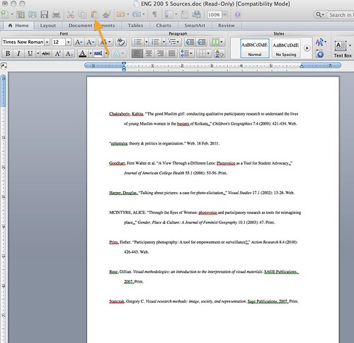 Screenshot of a microsoft word document displaying a Zotero bibliography