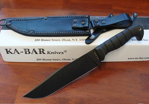 "KA-BAR 14-1/4"" Large-Heavy Bowie with Leather/Cordura Sheath"