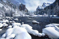 Snow in the Valley (Scott Pudwell) Tags: california winter snow water canon rocks sierra yosemite 5d yosemitenationalpark flowing elcapitan valleyview mercedriver