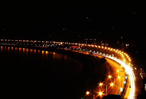 "Marine Drive at Night - "" The Queens Necklace"""