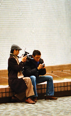 Host from Digitalrev TV, Kai and Lok (NG S.S.) Tags: street photography hong kong kai pentaxmesuper f28 135mm lok digitalrev 400isa