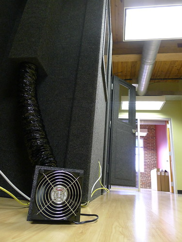 Ventilation fans and ducts are outside