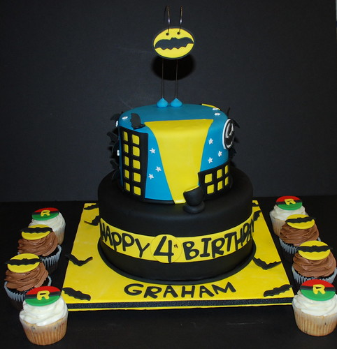 Batman & Robin Theme Birthday Cake