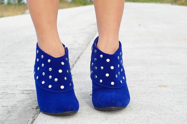 studded blue velvet boots