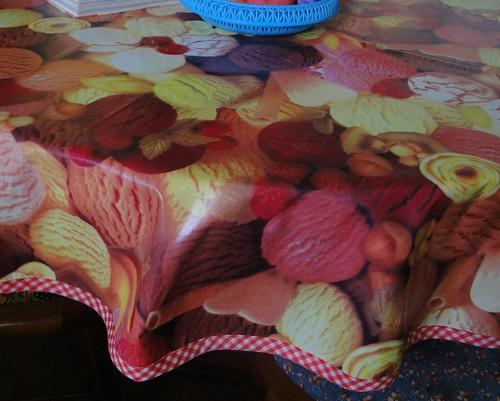 Toalha de plástico com viés de tecido