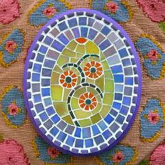 Ostara Egg (Black Cat Bazaar) Tags: life flowers blue orange green art glass easter tile spring purple mosaic egg goddess ostara sarahcampbell cccoe