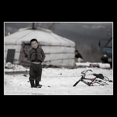 Boy with a Bicycle (Mr.GG) Tags: boy snow bicycle countryside mongolia ger mrgg ggmgl ganulziig
