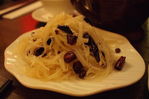 Shredded potato with chilli and szechuan pepper