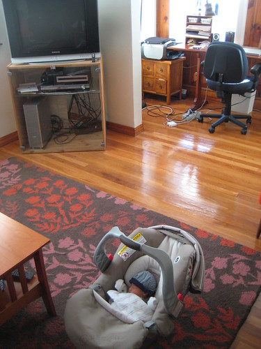 our living room and a car seat