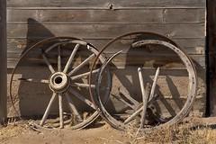 Wagon wheels @ Coffin barn (Rocky Pix) Tags: park county foothills barn creek plane wagon march early sandstone colorado flood zoom farm longmont w wheels boulder homestead f22 normal 60mm nikkor coffin michel agricultural morse stvrain rockypix kiteley 2470mmf28g 160thsec