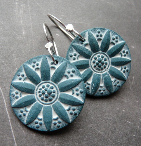 Porcelain Earrings - Radiant Sunflower in Teal