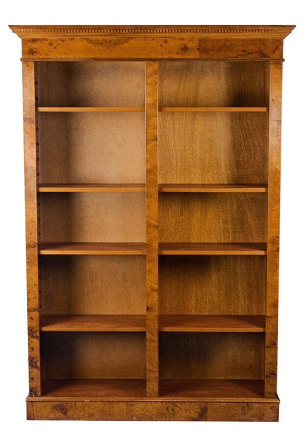 Burl walnut double bookcase