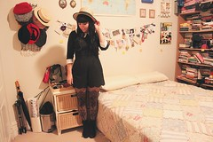 the perfect playsuit (pearled) Tags: blackandwhite stockings girl outfit clothing boots lace style tights shorts whitecollar scalloped boater thighhigh streetstyle peterpancollar overtheknee playsuit whitecuffs