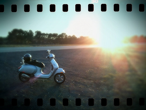 Sunset Vespa