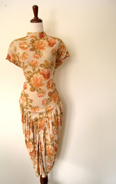 Peach Roses Floral Backless Dress, vintage 80's