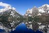 Jenny Lake (bhophotos) Tags: travel blue usa white lake snow mountains reflection nature water landscape geotagged spring nikon day clear wyoming nikkor tetons jacksonhole grandtetonnationalpark jennylake cascadecanyon gtnp d700 2470mmf28g projectweather bruceoakley