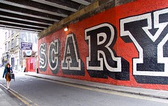 Scary Shoreditch, London (chrisjohnbeckett) Tags: street red urban streetart london scale word scary text fear capital letters shoreditch lettering language eine londonist rivingtonstreet relativesize chrisbeckett