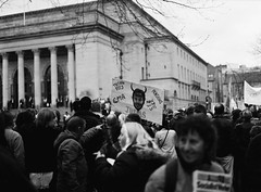 Judas (Back, and to the left) Tags: uk blackandwhite bw 120 film analog mediumformat sheffield crowd creativecommons learning banners expired protesters ilfordfp4 sheffieldcityhall nickclegg sooc pentax645n libdemconference flickr:user=backandtotheleft tumblr:user=thediaryofadisappointingman