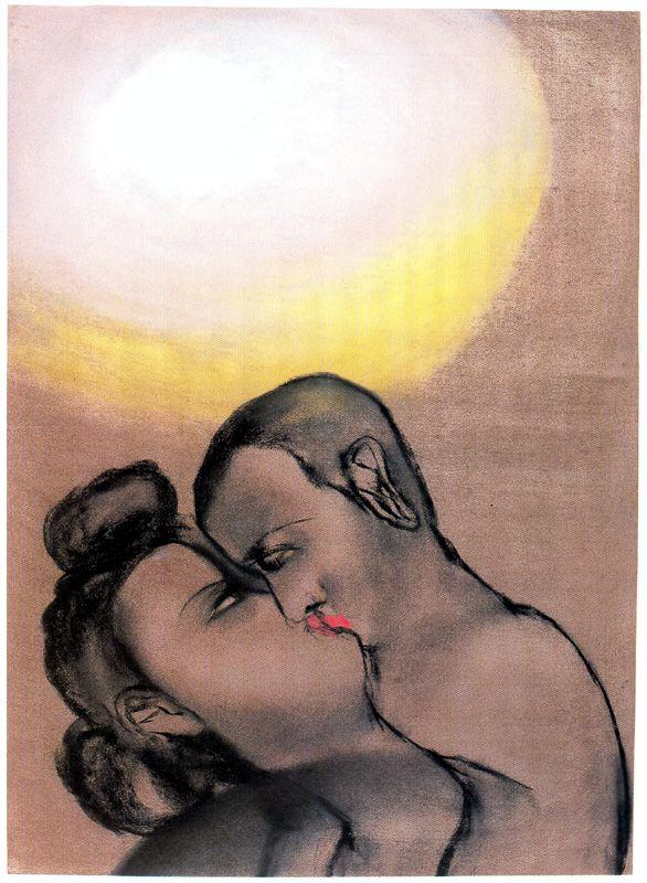 Francesco Clemente Kiss, 1983Pastel on paper66 x 48cm