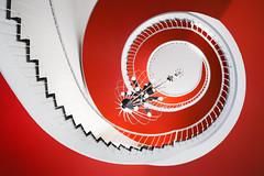 Red Swirl (ill-padrino www.matthiashaker.com) Tags: architecture stairs steps stairwell treppe staircase circular treppenhaus treppenausge