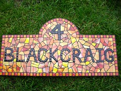 Stained glass and glass tile mosaic house number  (number 4) (fiona parkes) Tags: glass sign plaque tile handmade mosaic 4 mosaics stainedglass stained tiles housename housenumber grout number4 glasstiles stainedglassmosaic mosaichousenumber