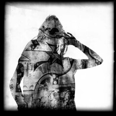 Yours My Graffiti (suzyallman) Tags: camera shadow portrait urban blackandwhite film nature silhouette modern darkroom mediumformat dark square landscape different graphic doubleexposure unique traditional rich grain style multipleexposure hasselblad negativespace plus hp5 technique ilford suzyallman