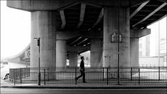 Mancunian (seegarysphotos) Tags: road city blackandwhite mono post motorway pedestrian pillars railings manc mancunianwa
