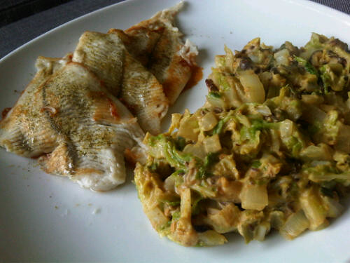Creamy spiced cabbage with plaice