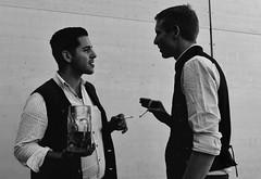 Bavarian Boys (Anjuli Lohmller) Tags: people humans talking conversation street urban city munich octoberfest beer smoking bw