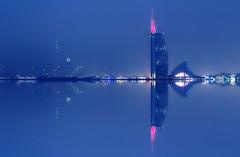 Burj Al Arab (UrbanCyclops) Tags: dubai uae unitedarabemirates middleeast water ocean persiangulf skyline skyscraper towers buildings architecture city urban iconic hotel megastructure cityscape night lights metropolis reflections foggy burj