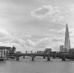 On The River (Rob Hall (SquarePhotography.co.uk)) Tags: robhall trilbyspats robinhall squarephotography squarephotographycouk london riverthames towerbridge londonbridge shard film mediumformat monochrome