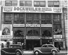 Clifton's Cafeteria, 1940 (jericl cat) Tags: car sign promotion facade restaurant losangeles support election downtown district banner broadway landmark historic cafeteria vote sallys brookdale mckays cliftons fitts dockweiler districtattorney