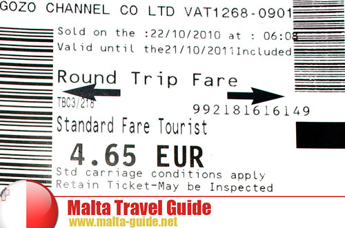 Gozo Island ferry boat ticket Malta