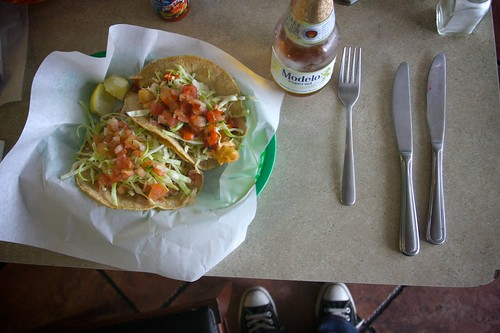 1 shrimp 1 fish taco 1 modelo 1 fork 2 knives