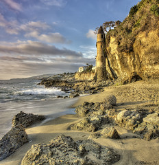 Victoria Tower (Didenze) Tags: light sunset beach sand rocks cliffs hdr goldenhour lagunabeach victoriatower canon450d vertorama hdrspotting didenze