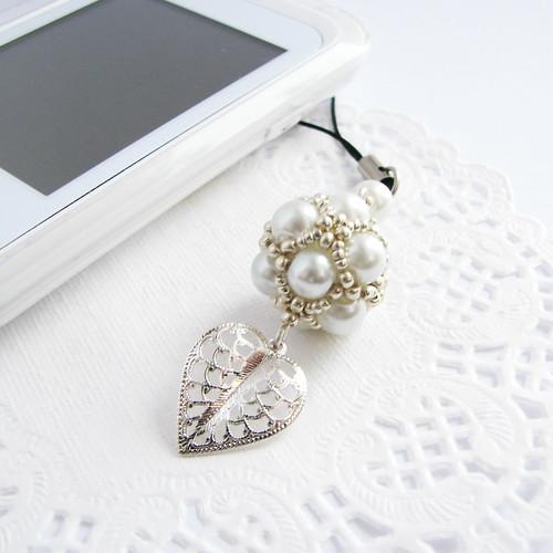 beaded cell phone charm, key holder