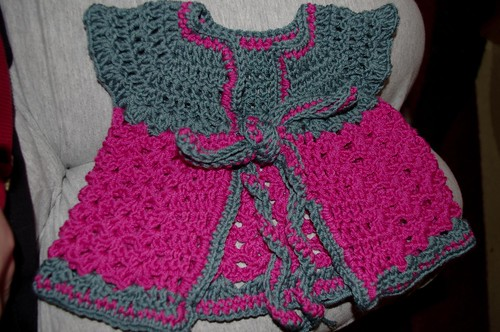 Baby sweater 1 - Petrol & pink