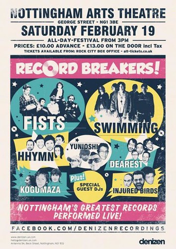 Poster for Record Breakers gig on 19th Feb