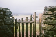 Arnside (TeaCake90) Tags: england film stone wall landscape gate northwest hiking hill dry cumbria olympustrip35 knott arnside
