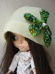 White Hat with Green Sequins Flower