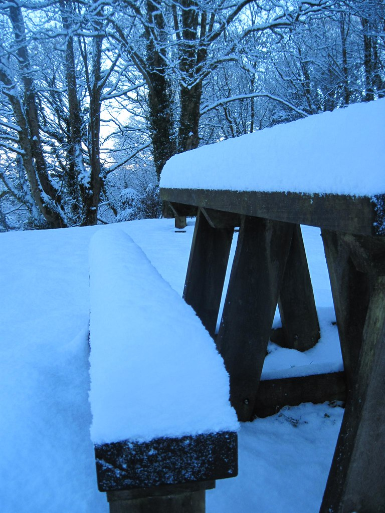 SNOW!!!!! picnic table