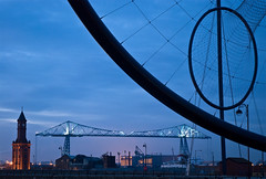 Old and New, Middlesbrough #1. (DWH284) Tags: bluehour kapoor middlesbrough anish temenos teestransporterbridge