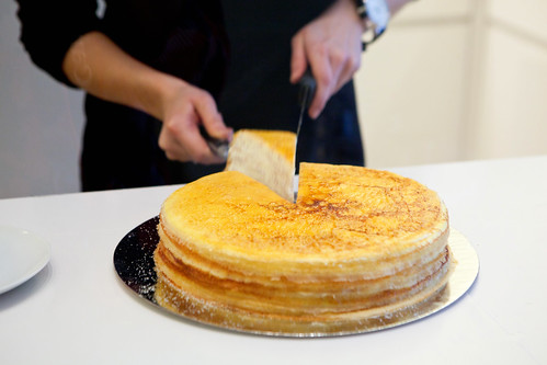 Cutting my slice of Mille Crepes Cake