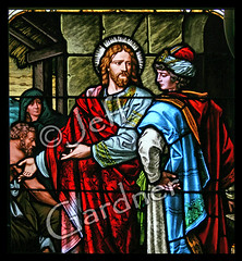 Jesus and the Rich Young Man (*Jeff*) Tags: man church window southdakota catholic jesus rich young away stainedglass give sd bible everything milbank