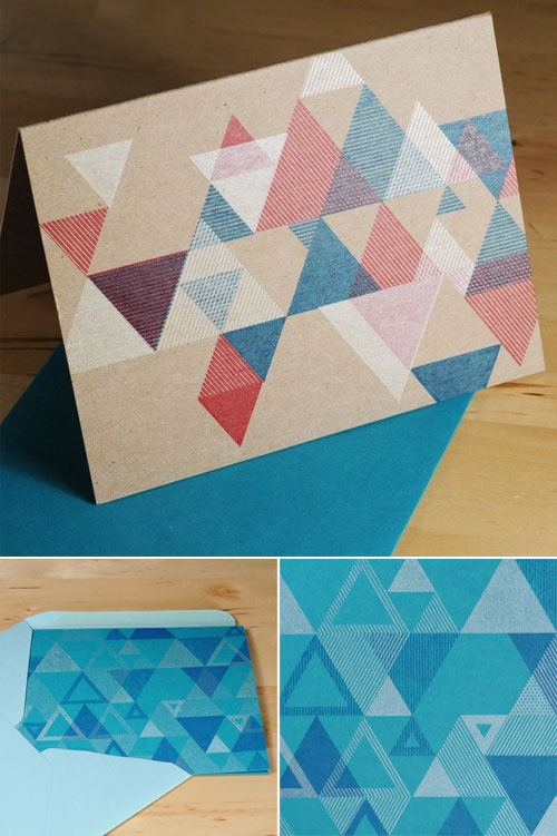 Set-of-6-Hand-printed-Triangle-Pattern-Holiday-Cards----Peacock-Blue