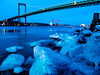 Bridge over icy waters (dubbelt_halvslag) Tags: city longexposure bridge blue winter light snow west ice beach water weather architecture night canon river göteborg landscape island bay coast vinter marine rocks long exposure raw sweden marin schweden gothenburg himmel sverige bro scandinavia westcoast snö vatten archipelago skärgård rödasten ljus gbg eriksberg västkusten götaälv g10 älvsborgsbron eriksbergskranen långexponeringstid