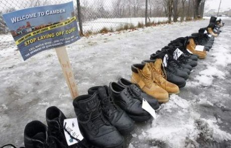 Boots of laid-off police officers in Camden