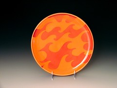 flame wave plate (Cephalopod Ink.) Tags: ocean sea orange art water kitchen ceramic tanya ooak decorative wave plate clay casteel pottery porcelain serving stoneware cephalopod