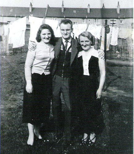 Jim Cameron with Mother and Sister Jessie Ruchill Glasgow 1957