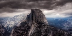 Conflict in Perspective (Kevin MacLeod (unranged.com)) Tags: california panorama northerncalifornia landscape photography photo nationalpark nikon photograph yosemite halfdome hdr photomatix nikond200 hdrpanorama kevinmacleod unrangedcom unranged
